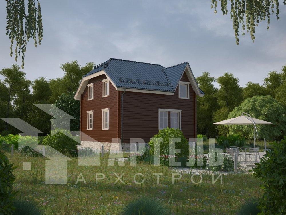 двухэтажный дом из профилированного бруса площадью от 100 до 150 кв. м. с  мансардой, эркером, проект Вариант 8 Т фотография 5934