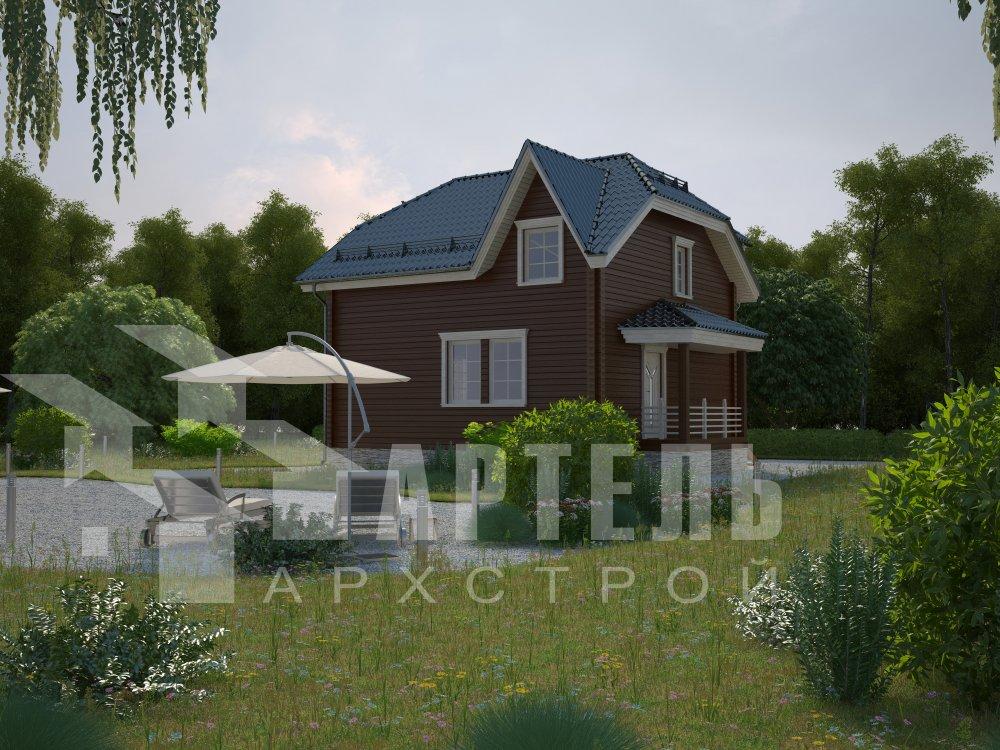 двухэтажный дом из профилированного бруса площадью от 100 до 150 кв. м. с  мансардой, эркером, проект Вариант 8 Т фотография 5949