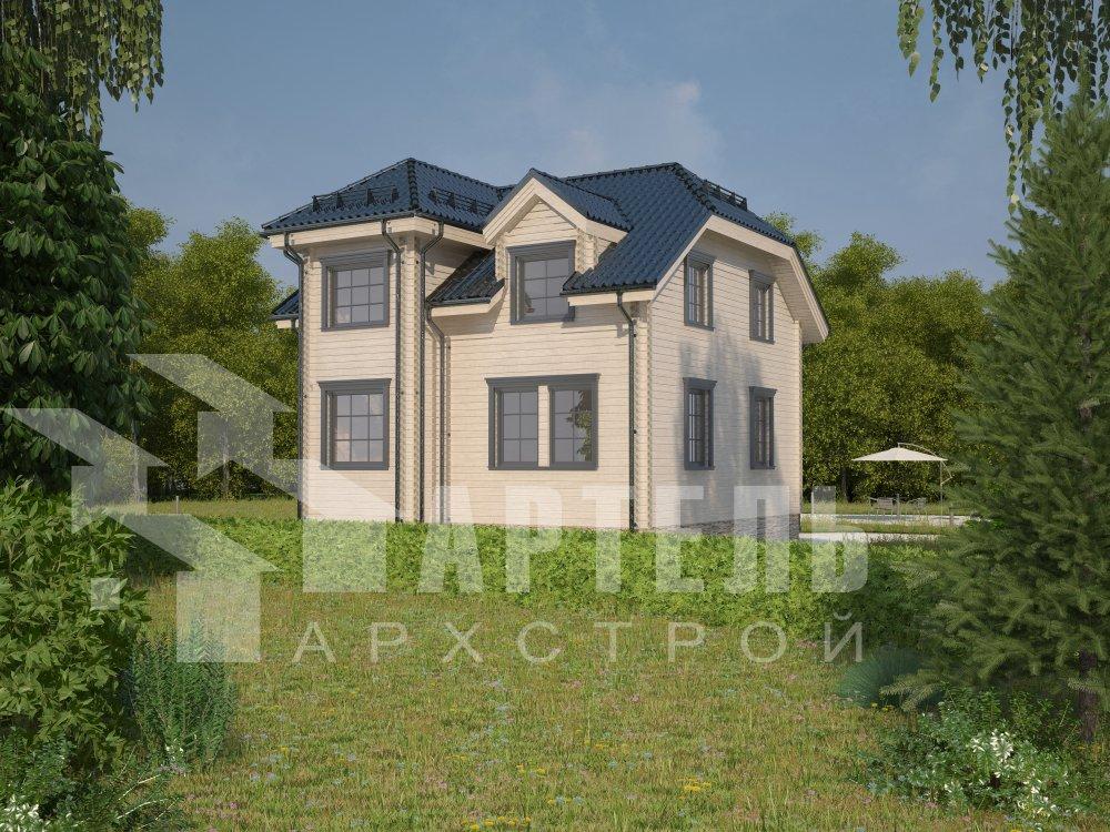 двухэтажный дом из профилированного бруса площадью от 100 до 150 кв. м. с  мансардой, эркером, проект Вариант 8 Т фотография 5974