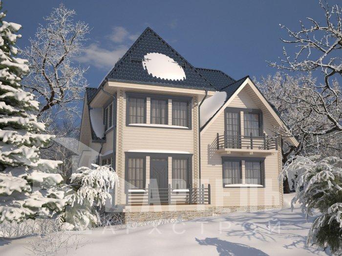 двухэтажный дом из профилированного бруса площадью от 150 до 200 кв. м. с  балконом, мансардой, проект Вариант 9 К фотография 4755