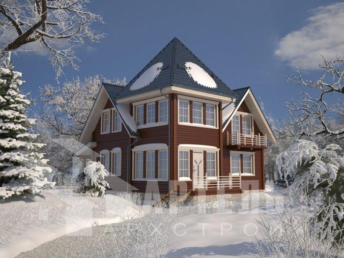 двухэтажный дом из профилированного бруса площадью от 150 до 200 кв. м. с  балконом, мансардой, проект Вариант 9 К фотография 4760