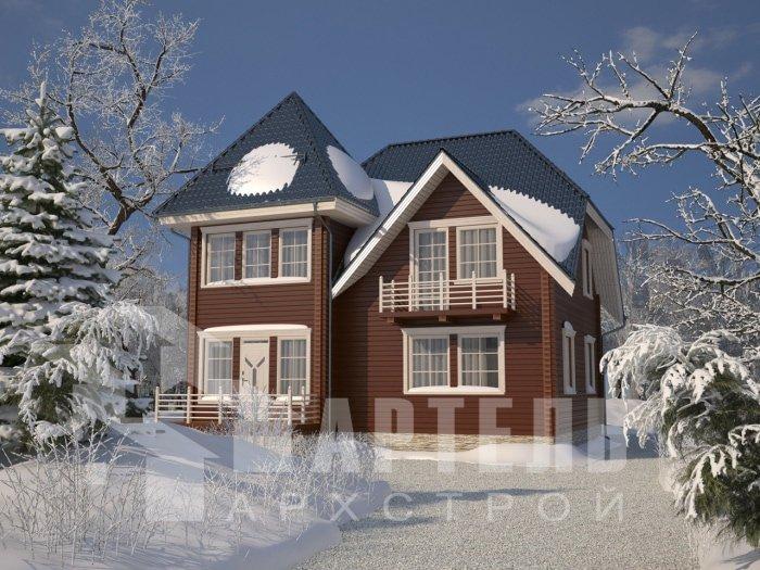 двухэтажный дом из профилированного бруса площадью от 150 до 200 кв. м. с  балконом, мансардой, проект Вариант 9 К фотография 4762