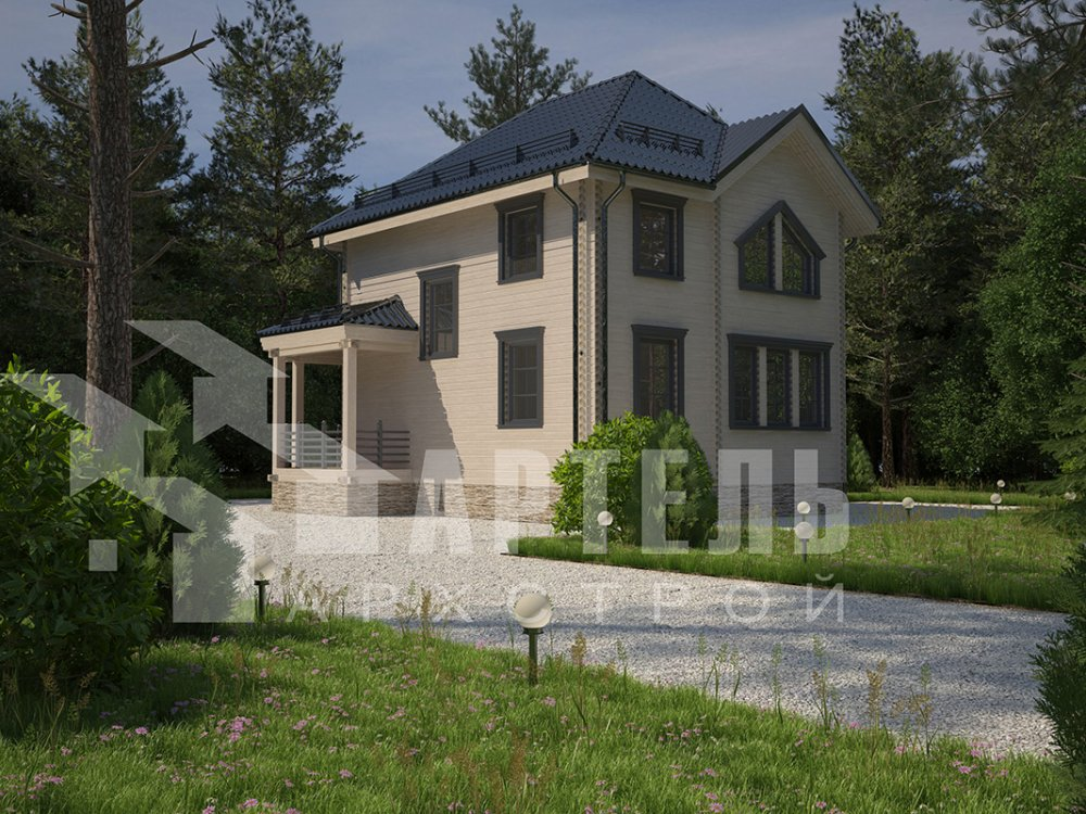 двухэтажный дом из профилированного бруса площадью от 100 до 150 кв. м. с  мансардой, террасой, эркером, проект Вариант 9.3 А фотография 4297