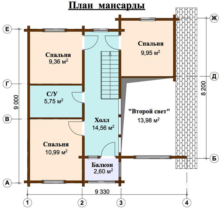двухэтажный дом из профилированного бруса площадью от 100 до 150 кв. м. с  балконом, мансардой, проект Вариант 9.3 К фотография 4484