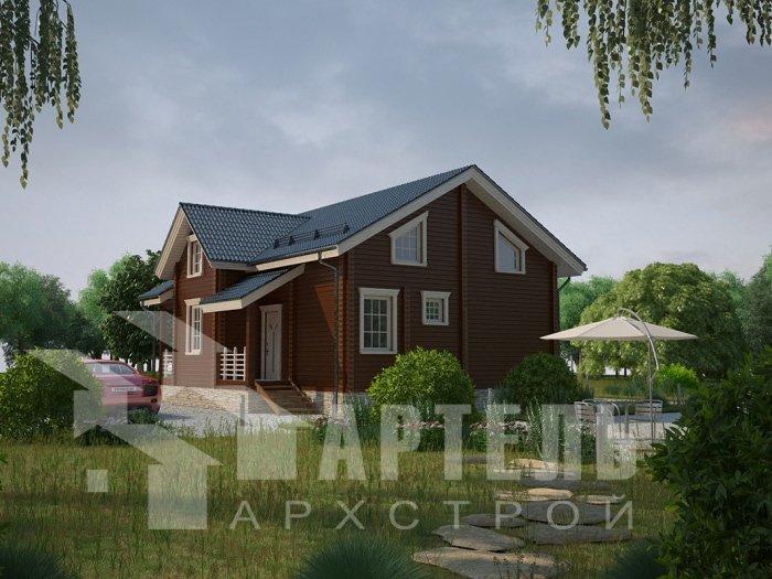двухэтажный дом из профилированного бруса площадью от 100 до 150 кв. м. с  балконом, проект Вариант 9.5 К фотография 4739