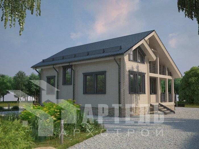 двухэтажный дом из профилированного бруса площадью от 100 до 150 кв. м. с  балконом, проект Вариант 9.5 К фотография 4735