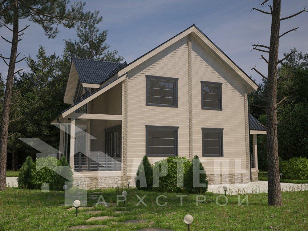 двухэтажный дом из профилированного бруса площадью от 150 до 200 кв. м. с  мансардой, террасой, проект Вариант 9.5 Т фотография 4581