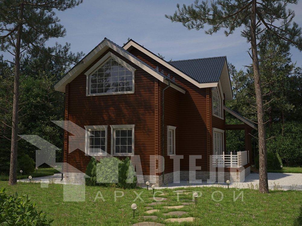 двухэтажный дом из профилированного бруса площадью от 150 до 200 кв. м. с  мансардой, террасой, проект Вариант 9.5 Т фотография 4573