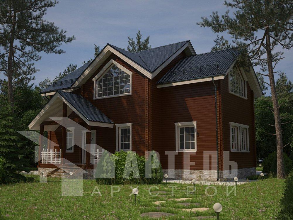 двухэтажный дом из профилированного бруса площадью от 150 до 200 кв. м. с  мансардой, террасой, проект Вариант 9.5 Т фотография 4572