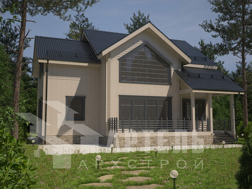 двухэтажный дом из профилированного бруса площадью от 150 до 200 кв. м. с  мансардой, террасой, проект Вариант 9.5 Т фотография 4580
