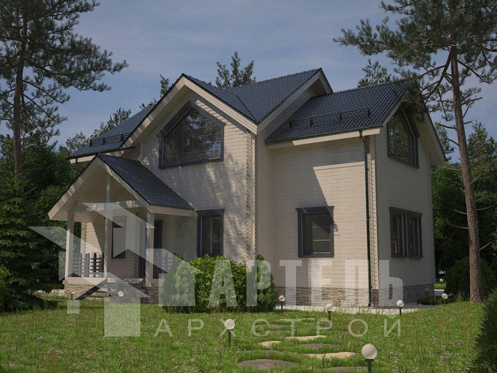 двухэтажный дом из профилированного бруса площадью от 150 до 200 кв. м. с  мансардой, террасой, проект Вариант 9.5 Т фотография 4578