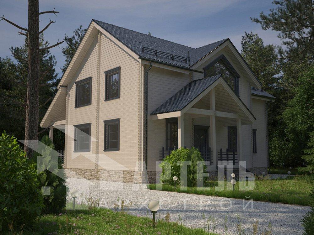 двухэтажный дом из профилированного бруса площадью от 150 до 200 кв. м. с  мансардой, террасой, проект Вариант 9.5 Т фотография 4577