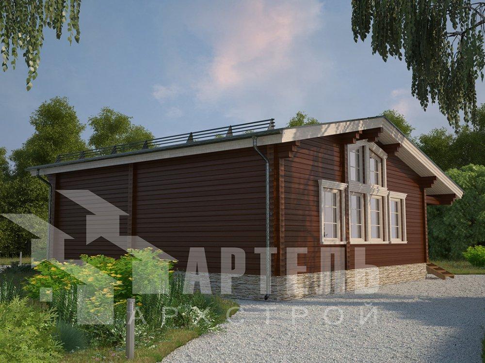 одноэтажный дом из профилированного бруса площадью от 100 до 150 кв. м. с  террасой, проект Вариант 9.8 К фотография 4061