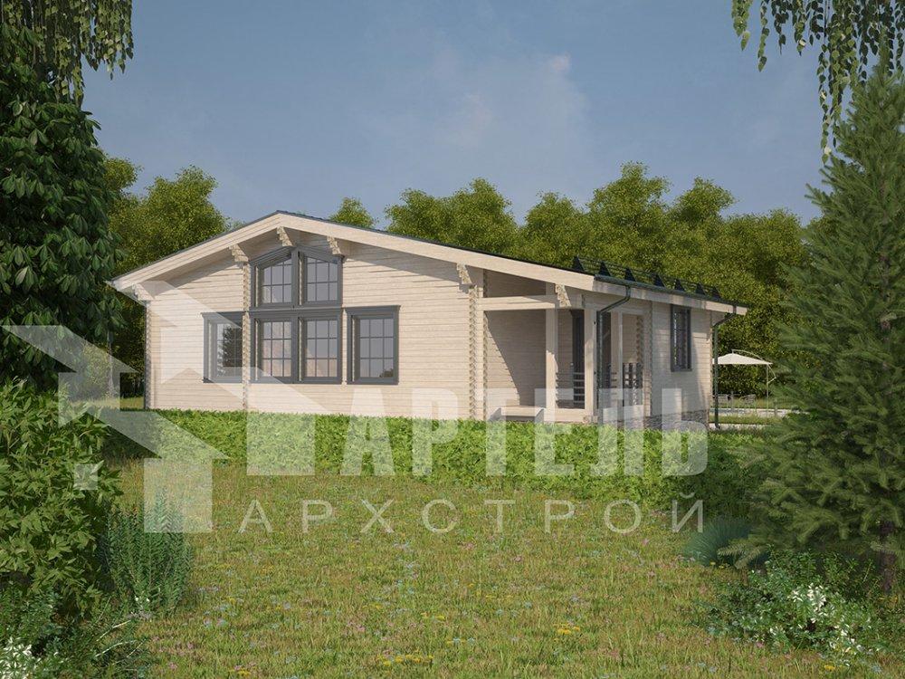 одноэтажный дом из профилированного бруса площадью от 100 до 150 кв. м. с  террасой, проект Вариант 9.8 К фотография 4059