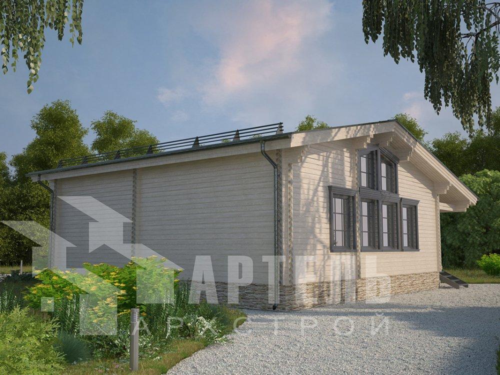 одноэтажный дом из профилированного бруса площадью от 100 до 150 кв. м. с  террасой, проект Вариант 9.8 К фотография 4054
