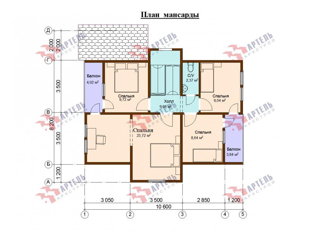 двухэтажный дом из профилированного бруса площадью от 100 до 150 кв. м. с  верандой, мансардой, эркером, проект Вариант 8.2 К фотография 6626
