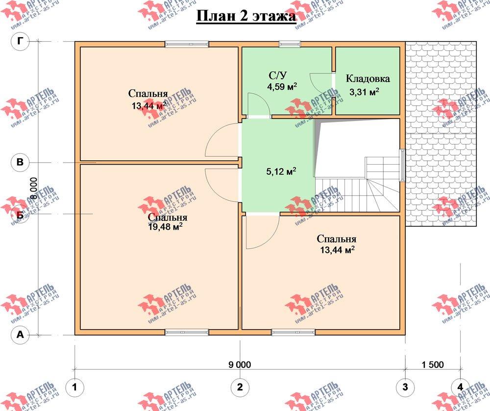 двухэтажный дом из бруса площадью от 100 до 150 кв. м. с  мансардой, проект Вариант 8 А-1 фотография 2195