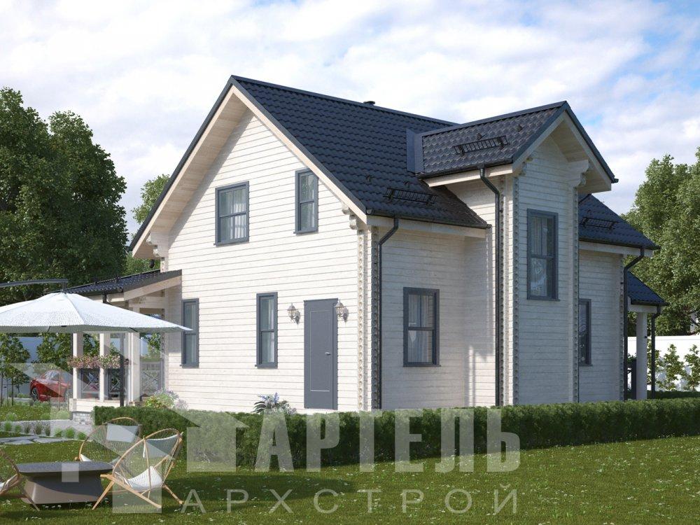 двухэтажный дом из профилированного бруса площадью от 100 до 150 кв. м. с  балконом, террасой, проект Вариант 10.7Л фотография 6551