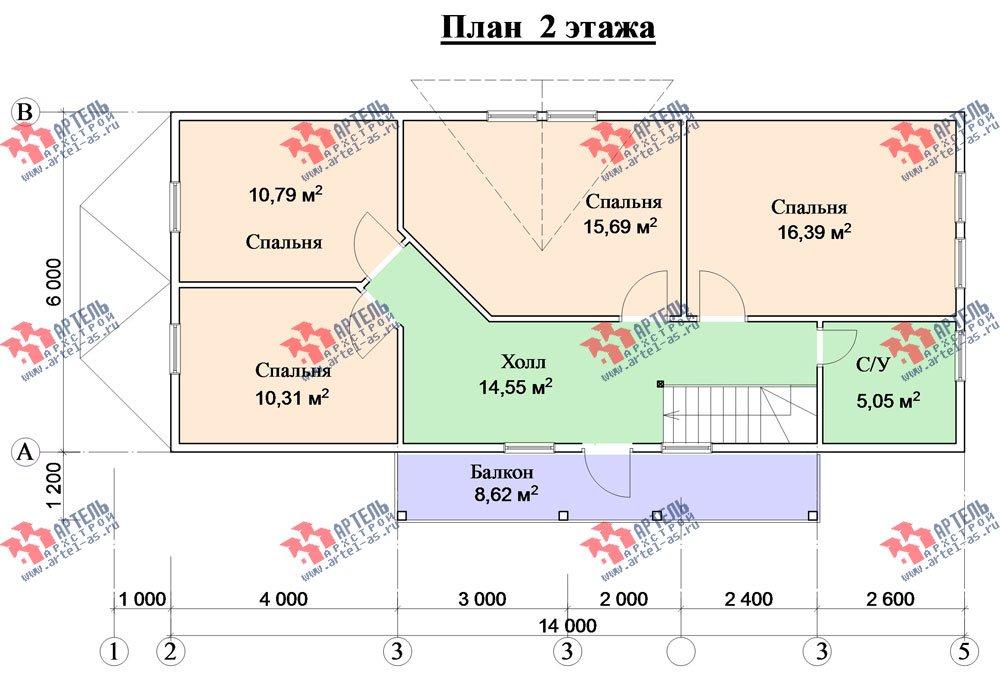 двухэтажный дом из бруса площадью от 150 до 200 кв. м. с  балконом, проект Вариант 6 О-1 фотография 2281