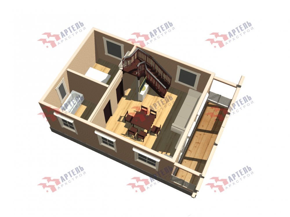дом из профилированного бруса с  мансардой, проект Вариант 9.6М фотография 6540