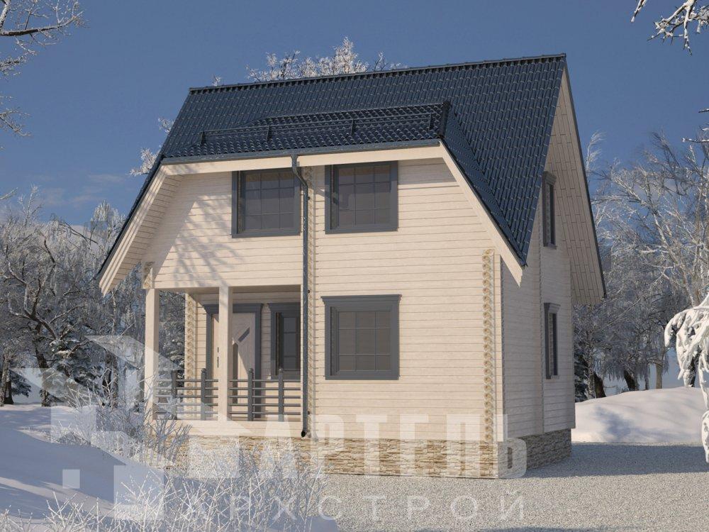 двухэтажный дом из профилированного бруса площадью до 100 кв. м. с  мансардой, проект Вариант 6 Д фотография 6567