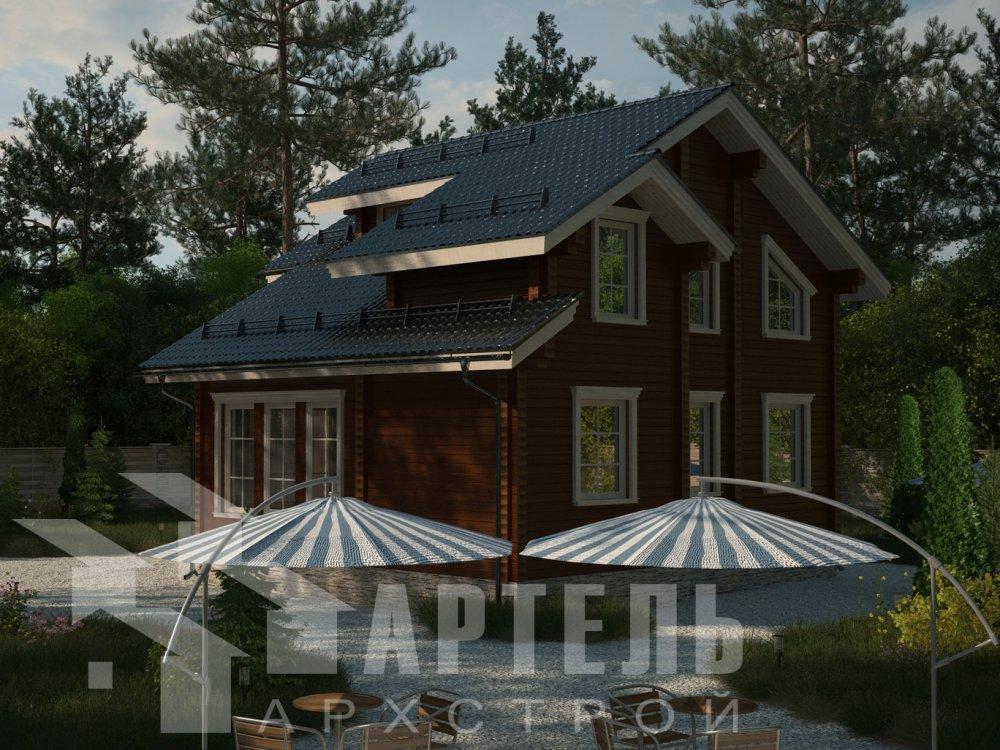 двухэтажный дом из профилированного бруса площадью от 100 до 150 кв. м. с  балконом, мансардой, проект Вариант 9.3 К фотография 6410