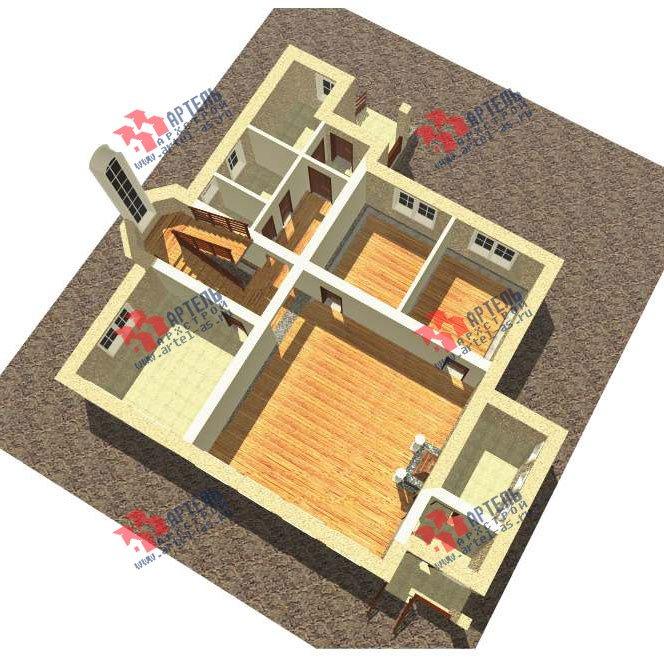 трёхэтажный дом из камня площадью свыше 200 кв. м. с  балконом, мансардой, эркером, проект Вариант 24 фотография 2738