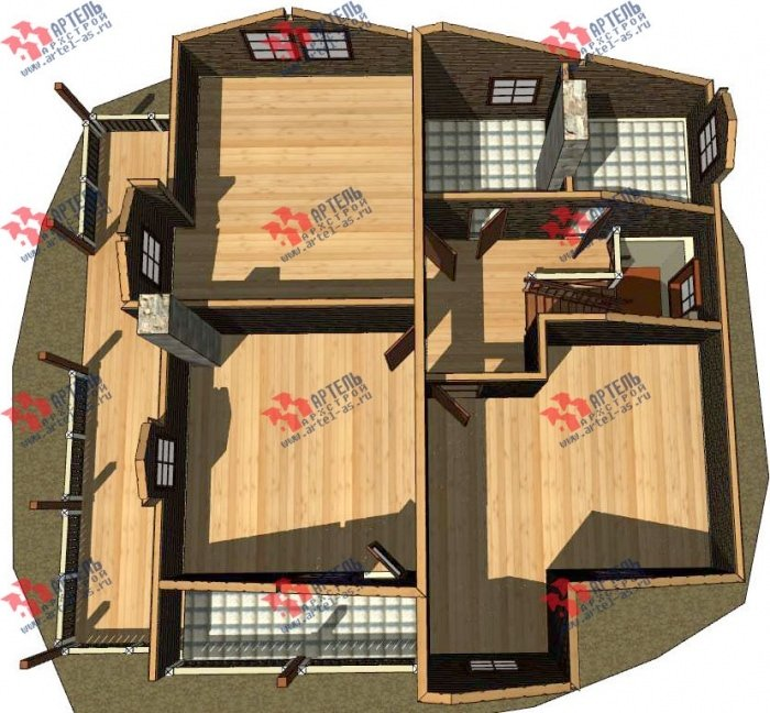 двухэтажный дом омбинированные дома площадью свыше 200 кв. м. с  балконом, террасой, эркером, проект Вариант 10.8 А Комбинированный фотография 4781