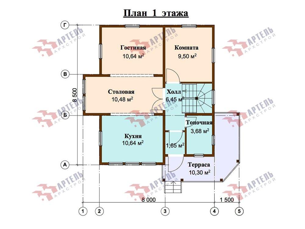двухэтажный дом из профилированного бруса площадью от 100 до 150 кв. м. с  мансардой, террасой, эркером, проект Вариант 9.3 А фотография 5923