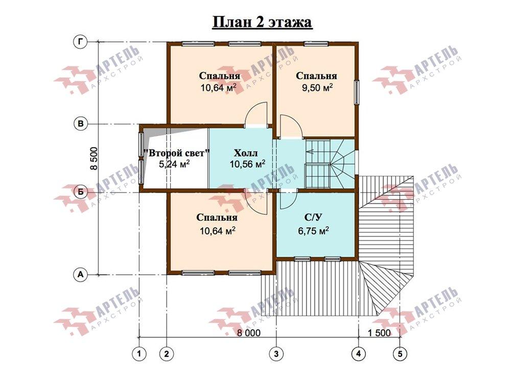 двухэтажный дом из профилированного бруса площадью от 100 до 150 кв. м. с  мансардой, террасой, эркером, проект Вариант 9.3 А фотография 5924