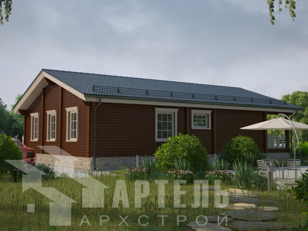 одноэтажный дом из профилированного бруса площадью от 100 до 150 кв. м. с  террасой, проект Вариант 12.4 Б фотография 6426