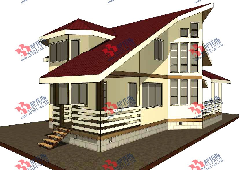 двухэтажный дом из бруса площадью от 150 до 200 кв. м. с  мансардой, террасой, эркером, проект Вариант 10 фотография 3002
