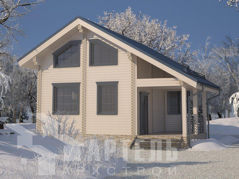 двухэтажный дом из профилированного бруса площадью от 100 до 150 кв. м. с  верандой, мансардой, эркером, проект Вариант 6 Л фотография 6618
