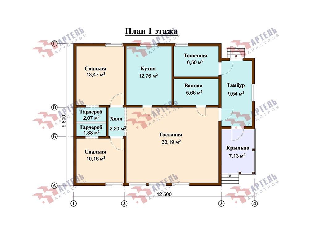 одноэтажный дом из профилированного бруса площадью от 100 до 150 кв. м. с  террасой, проект Вариант 9.8 К фотография 5825