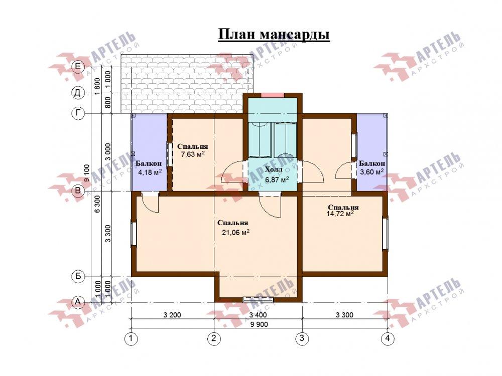 двухэтажный дом омбинированные дома площадью от 100 до 150 кв. м., проект Вариант 9,9К комбинированный фотография 5682