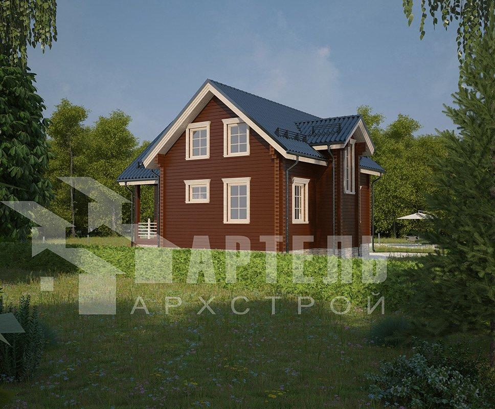 двухэтажный дом из профилированного бруса площадью от 100 до 150 кв. м. с  мансардой, эркером, проект Вариант 9 А фотография 4315