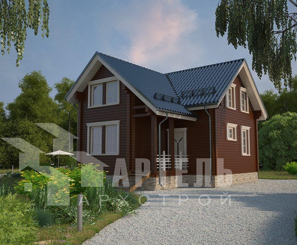 двухэтажный дом из профилированного бруса площадью от 100 до 150 кв. м. с  мансардой, эркером, проект Вариант 9 А фотография 4319
