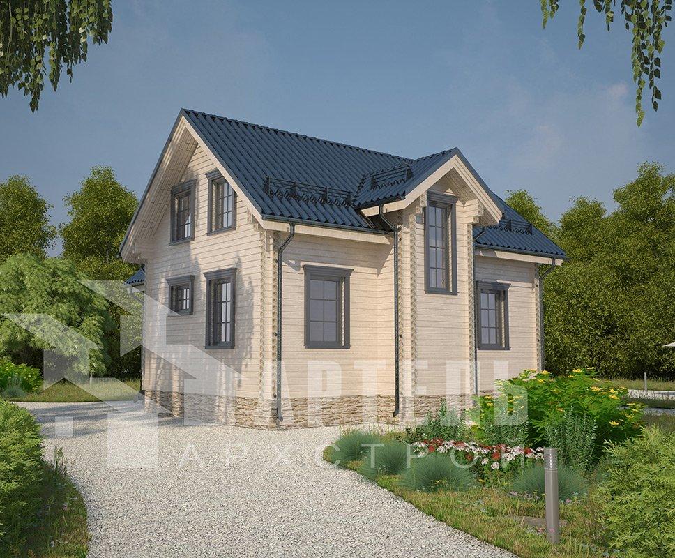 двухэтажный дом из профилированного бруса площадью от 100 до 150 кв. м. с  мансардой, эркером, проект Вариант 9 А фотография 4322