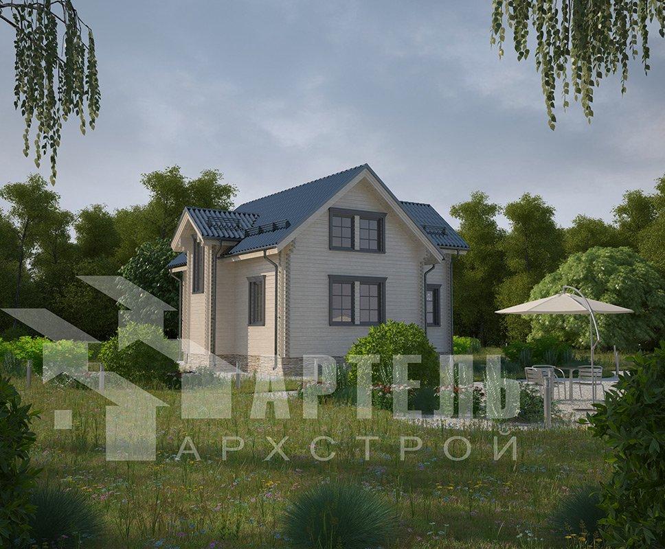 двухэтажный дом из профилированного бруса площадью от 100 до 150 кв. м. с  мансардой, эркером, проект Вариант 9 А фотография 4323