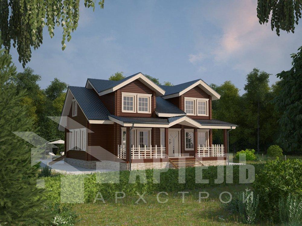 двухэтажный дом из профилированного бруса площадью от 150 до 200 кв. м., проект Вариант 9 О фотография 4504
