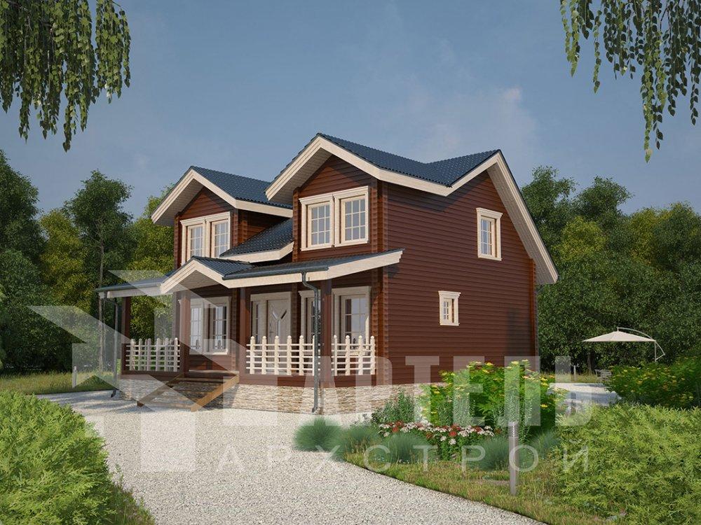 двухэтажный дом из профилированного бруса площадью от 150 до 200 кв. м., проект Вариант 9 О фотография 4502