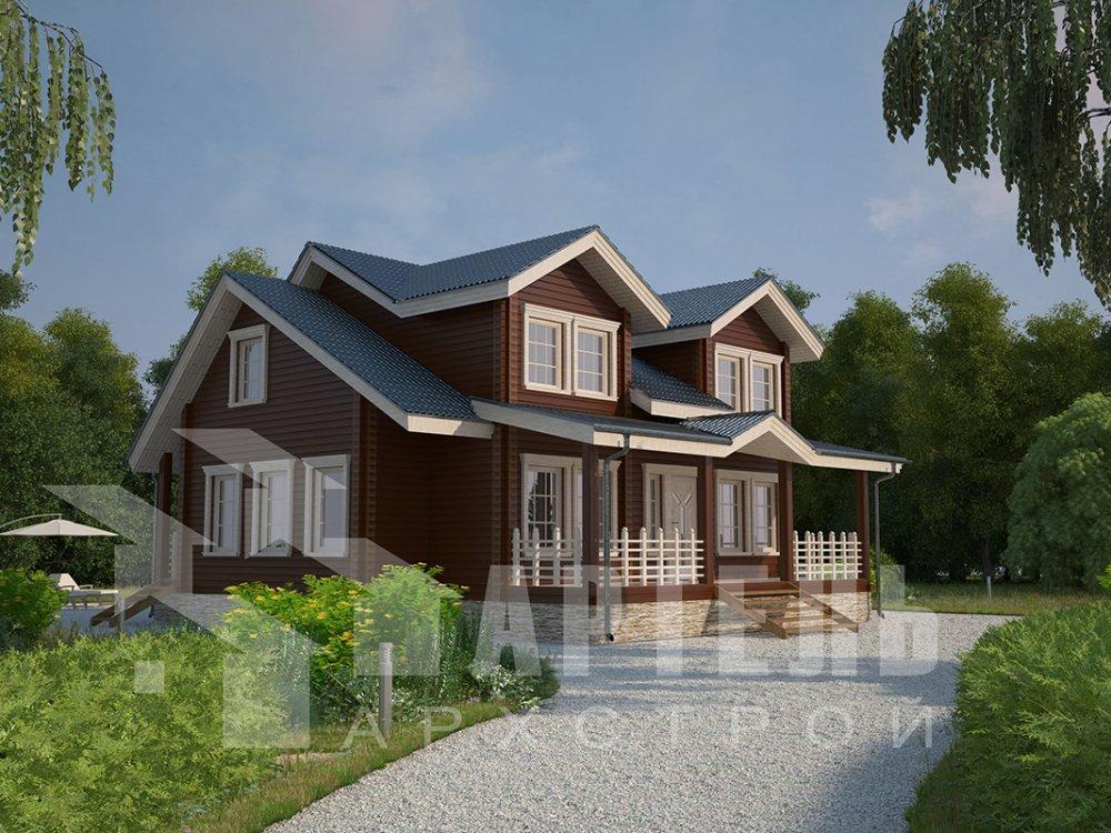 двухэтажный дом из профилированного бруса площадью от 150 до 200 кв. м., проект Вариант 9 О фотография 4499