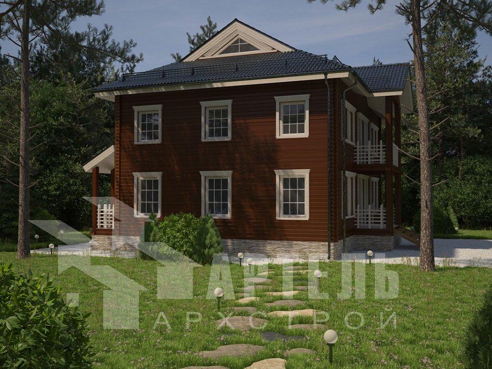 двухэтажный дом из профилированного бруса площадью свыше 200 кв. м. с  балконом, проект Вариант 9 Т фотография 4553