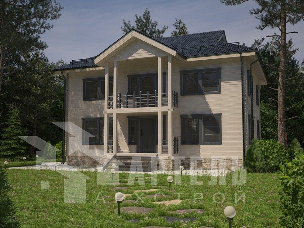 двухэтажный дом из профилированного бруса площадью свыше 200 кв. м. с  балконом, проект Вариант 9 Т фотография 4546