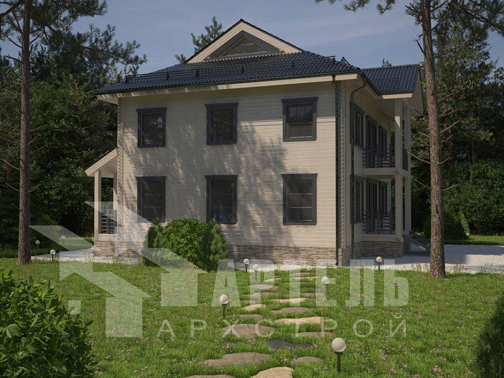 двухэтажный дом из профилированного бруса площадью свыше 200 кв. м. с  балконом, проект Вариант 9 Т фотография 4548