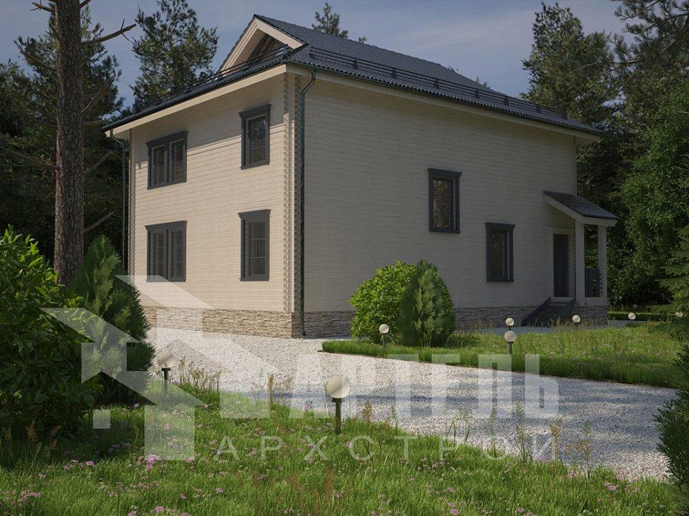 двухэтажный дом из профилированного бруса площадью свыше 200 кв. м. с  балконом, проект Вариант 9 Т фотография 4550