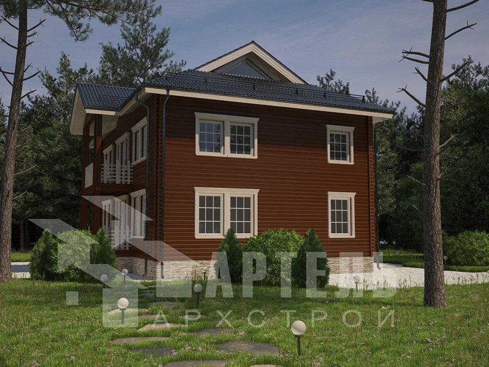 двухэтажный дом из профилированного бруса площадью свыше 200 кв. м. с  балконом, проект Вариант 9 Т фотография 4551