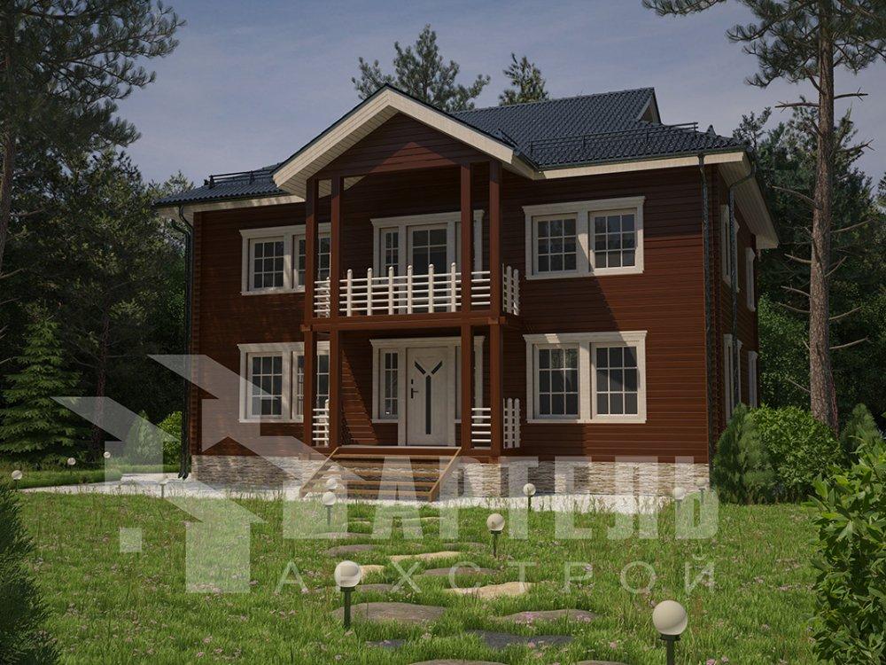 двухэтажный дом из профилированного бруса площадью свыше 200 кв. м. с  балконом, проект Вариант 9 Т фотография 4556