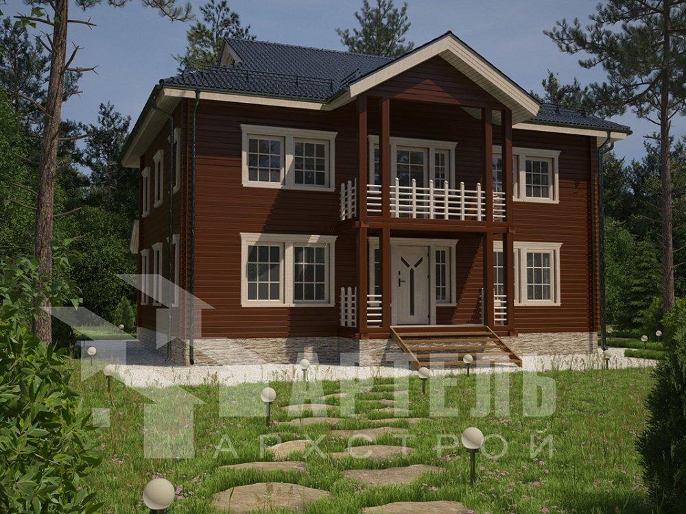 двухэтажный дом из профилированного бруса площадью свыше 200 кв. м. с  балконом, проект Вариант 9 Т фотография 4552