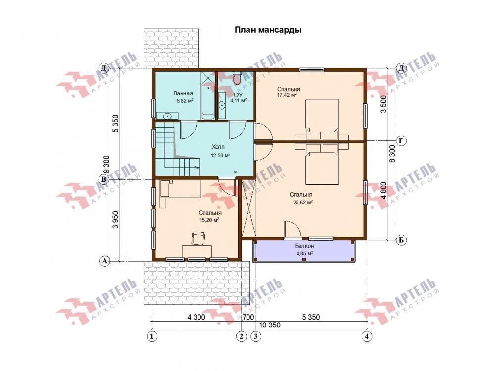 двухэтажный дом из профилированного бруса площадью от 150 до 200 кв. м. с  балконом, мансардой, проект Вариант 9 К фотография 6630